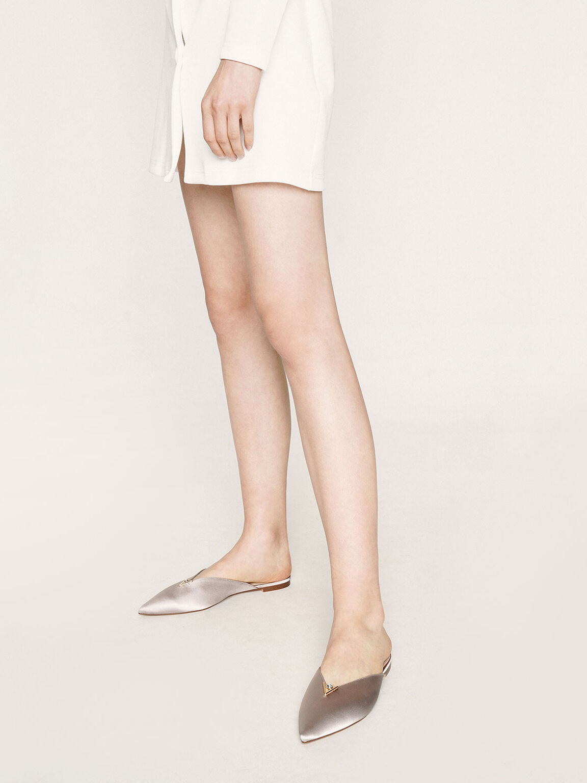 Satin Embellished V-Cut Mules, Grey, hi-res