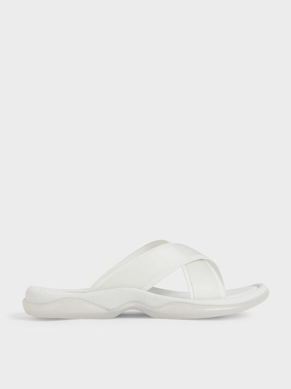 Grosgrain Slide Sandals, White, hi-res