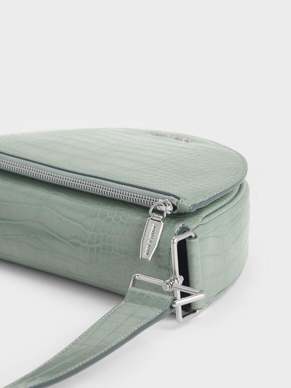 Croc-Effect Semi-Circle Crossbody Bag, Sage Green, hi-res