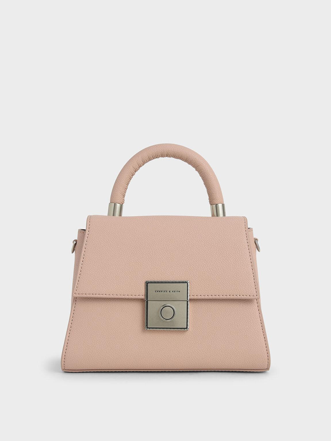 梯形金扣手提包, 粉紅色, hi-res