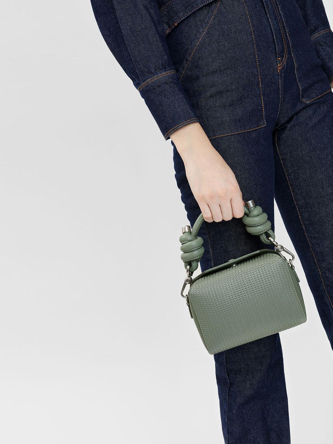 Knot Detail Handle Bag, Sage Green, hi-res