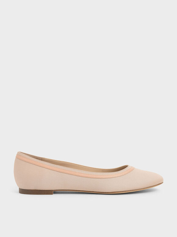 Round Toe Ballerina Flats, Nude, hi-res