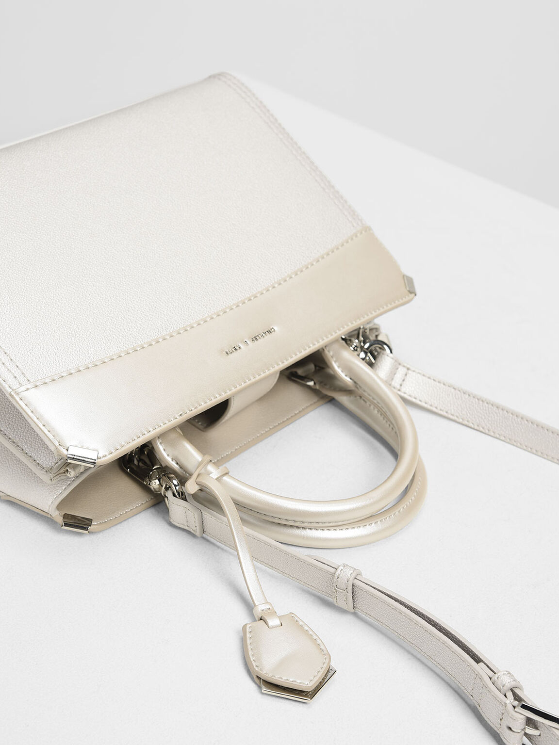 Metallic Edge Top Handle Bag, Pearl, hi-res