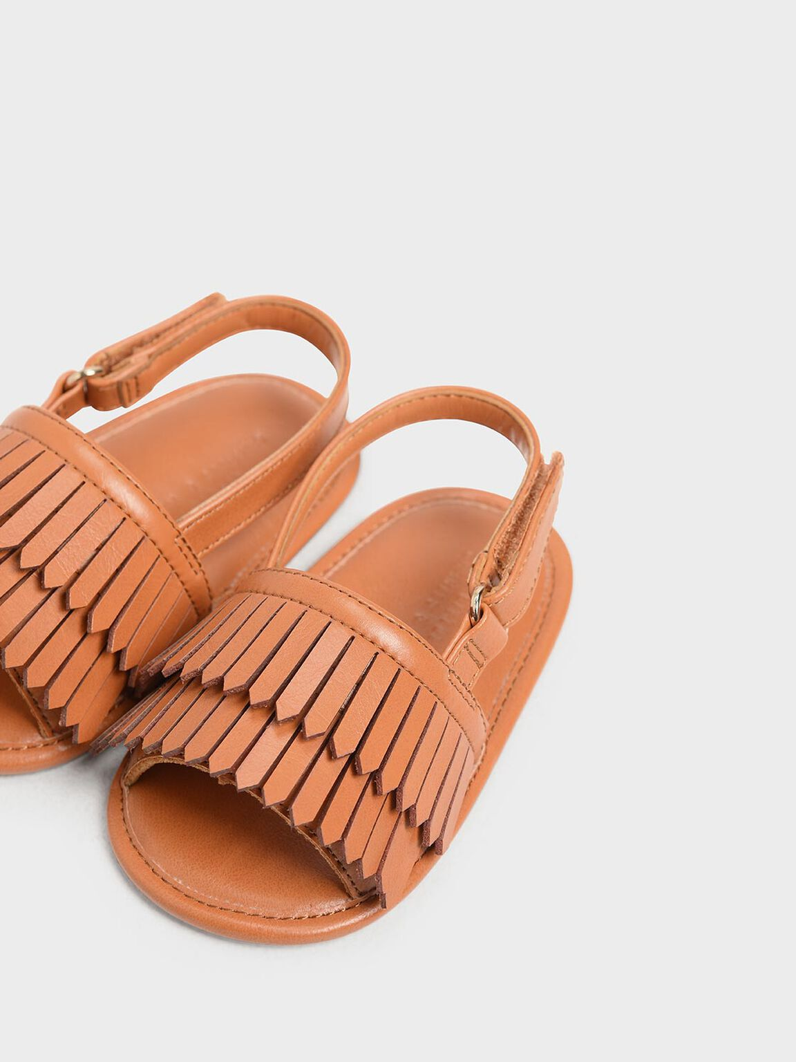 Kids' Fringe Slingback Flats, Orange, hi-res