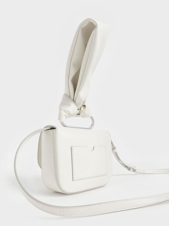Knotted Wristlet Bag, White, hi-res