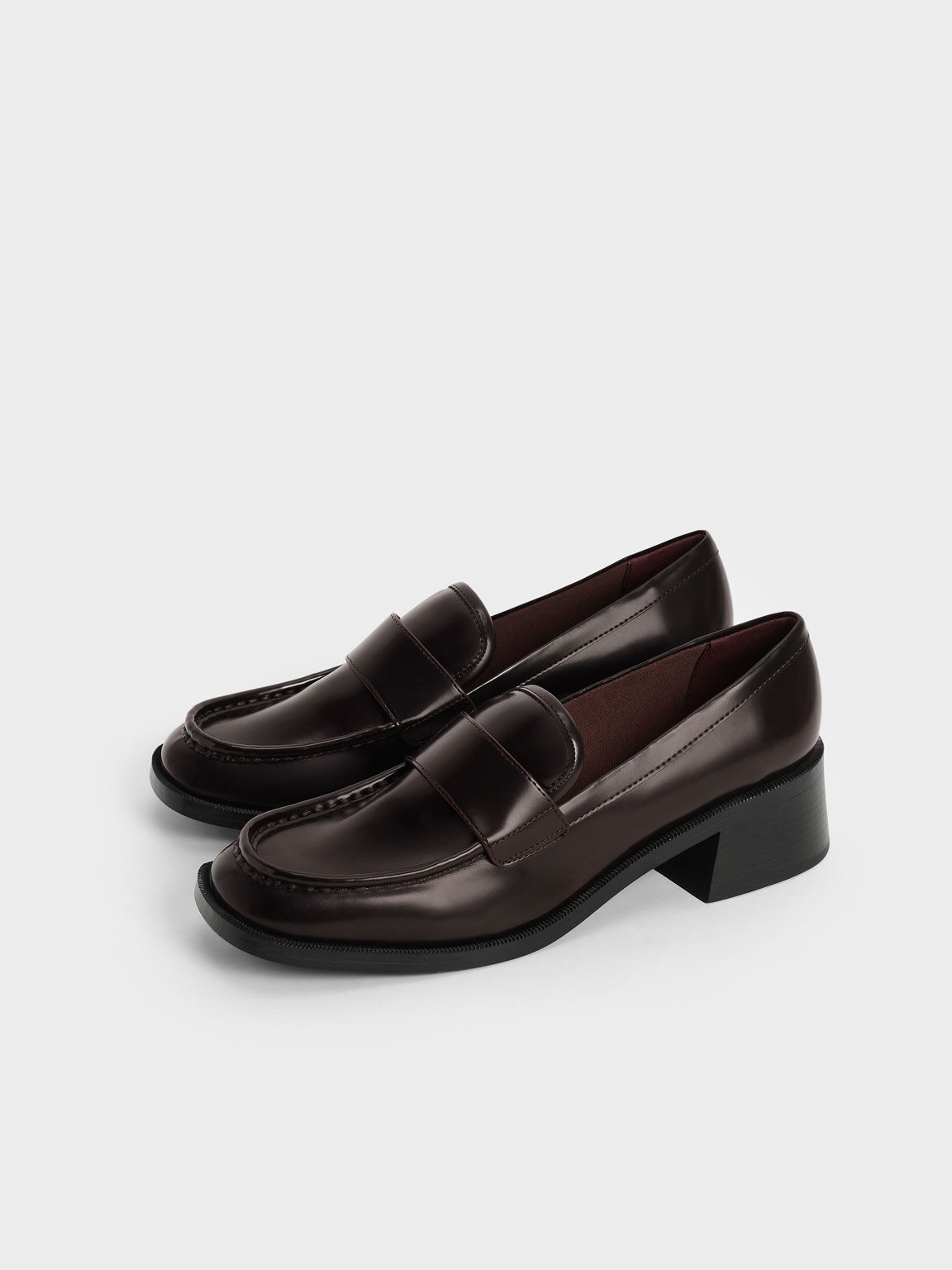Block Heel Penny Loafers, Burgundy, hi-res