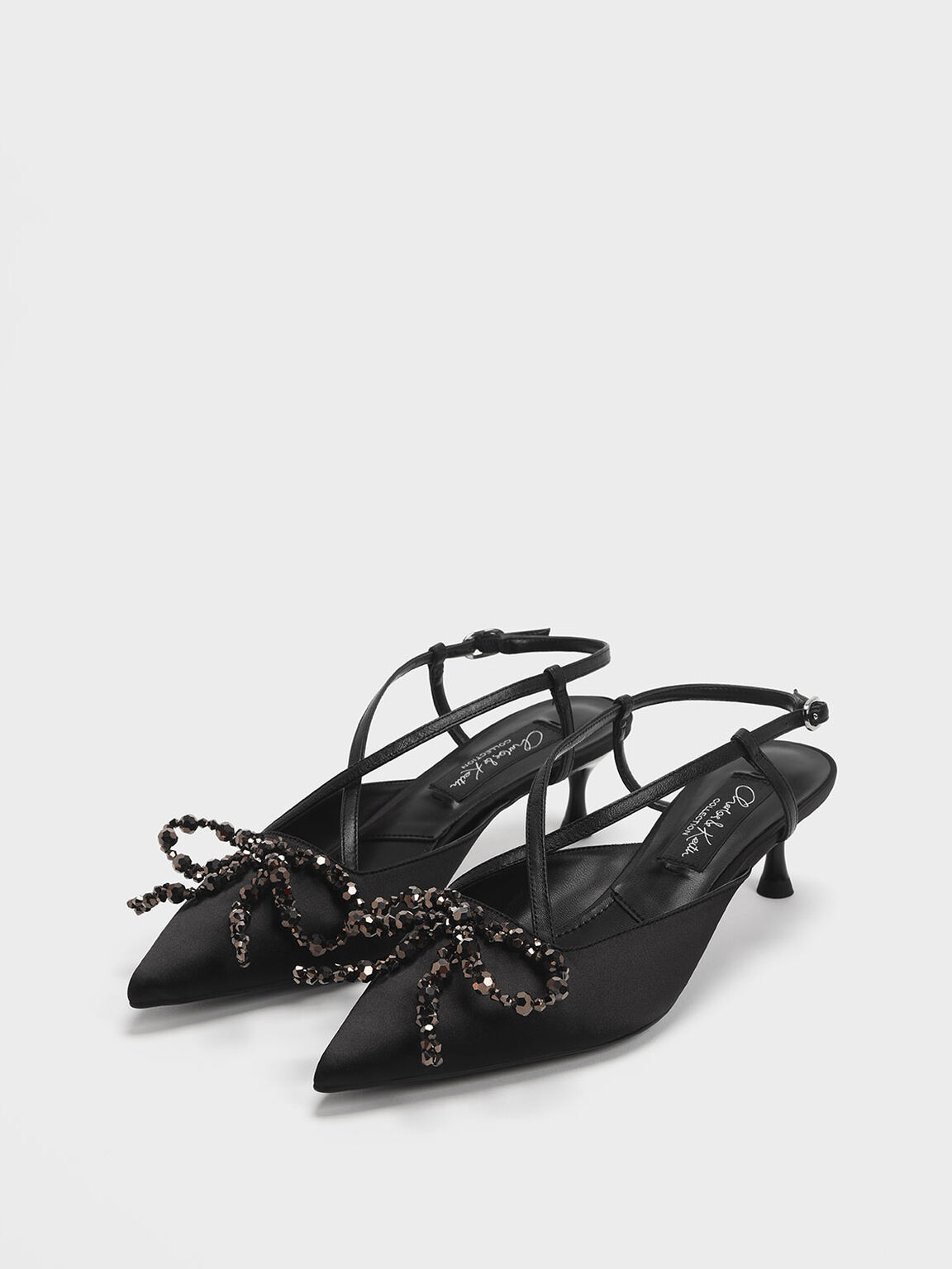 Beaded Bow Satin & Leather Slingback Heels, Black, hi-res