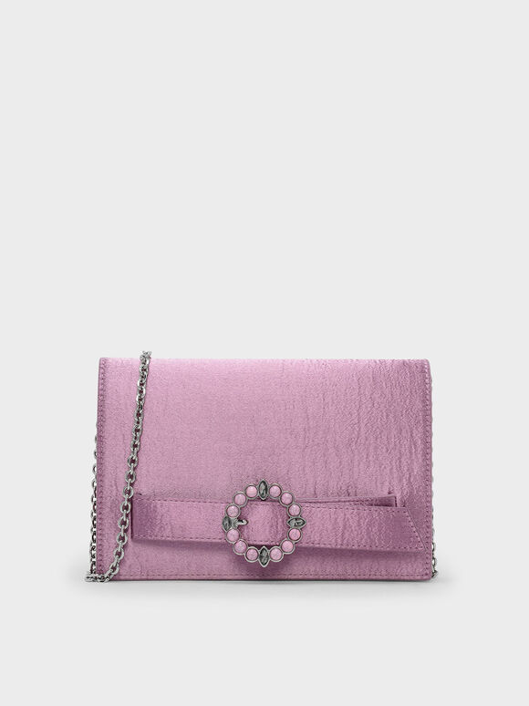 Embellished Buckle Satin Clutch, Pink, hi-res