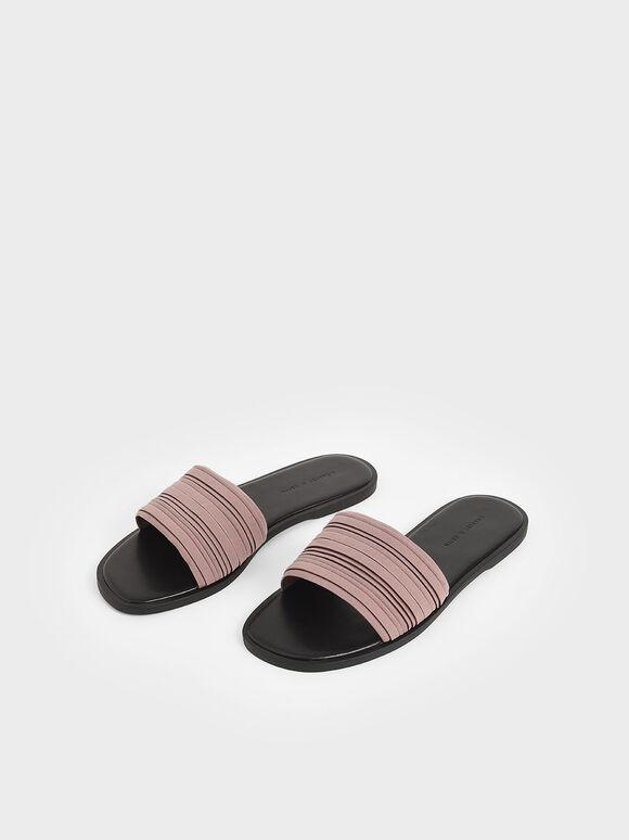 細百褶拖鞋, 紫灰色, hi-res