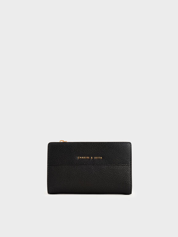 Snap-Button Mini Wallet, Black, hi-res