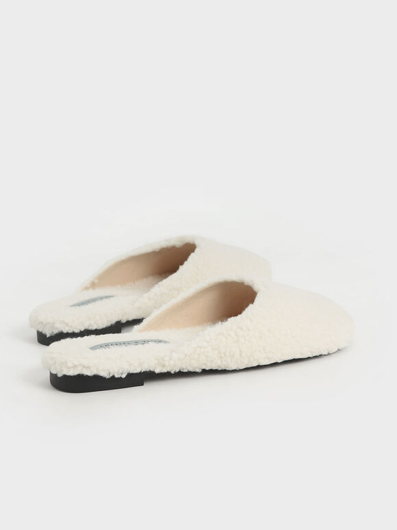 Recycled PET - Furry Flat Mules, Chalk, hi-res