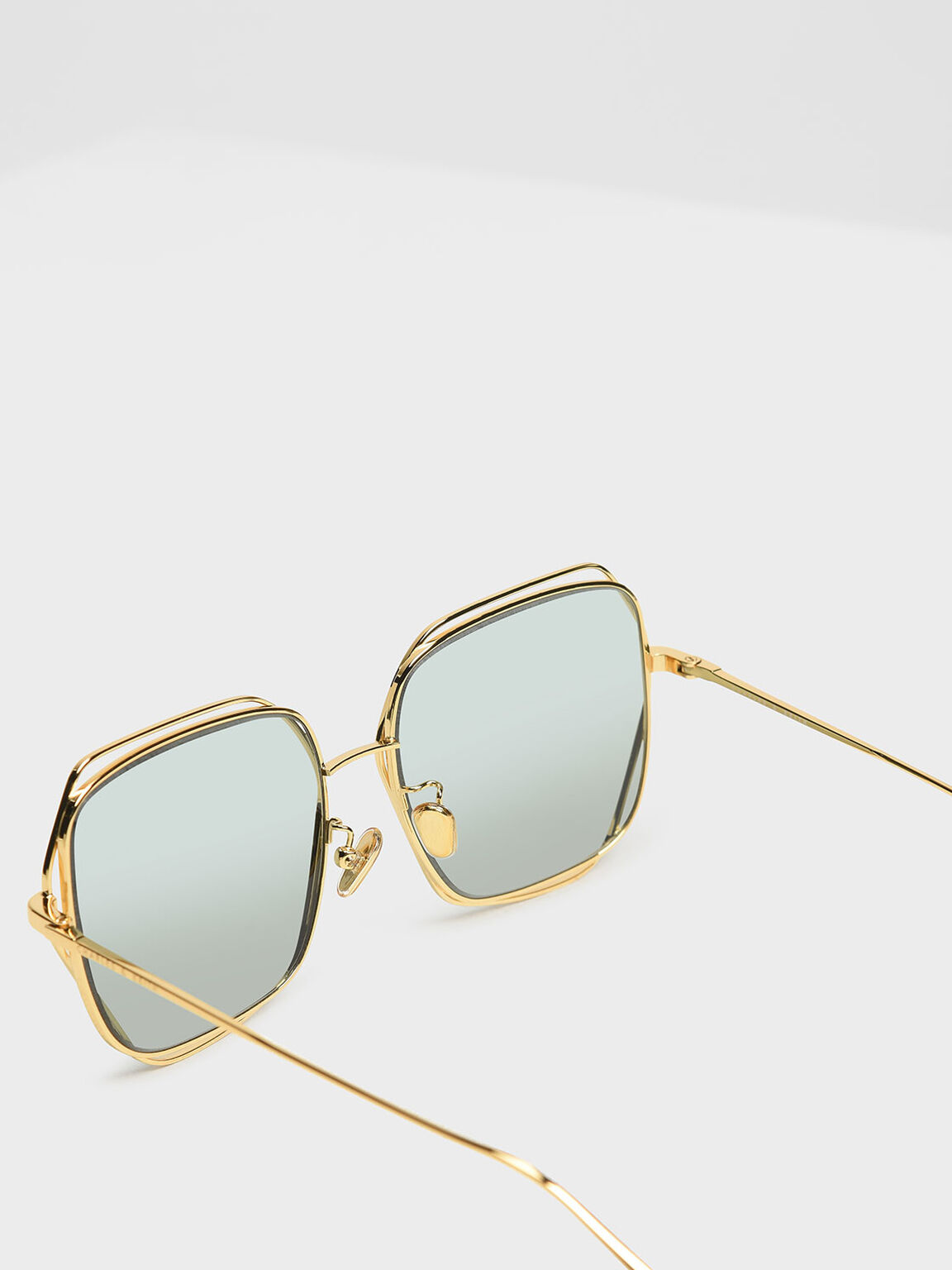 Double Rim Geometric Sunglasses, Green, hi-res