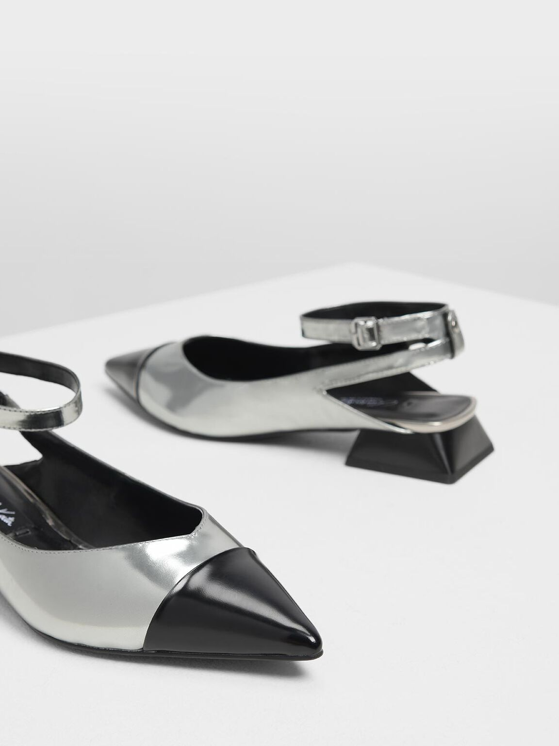 Metallic Leather Block Kitten Heel Pumps, Pewter, hi-res