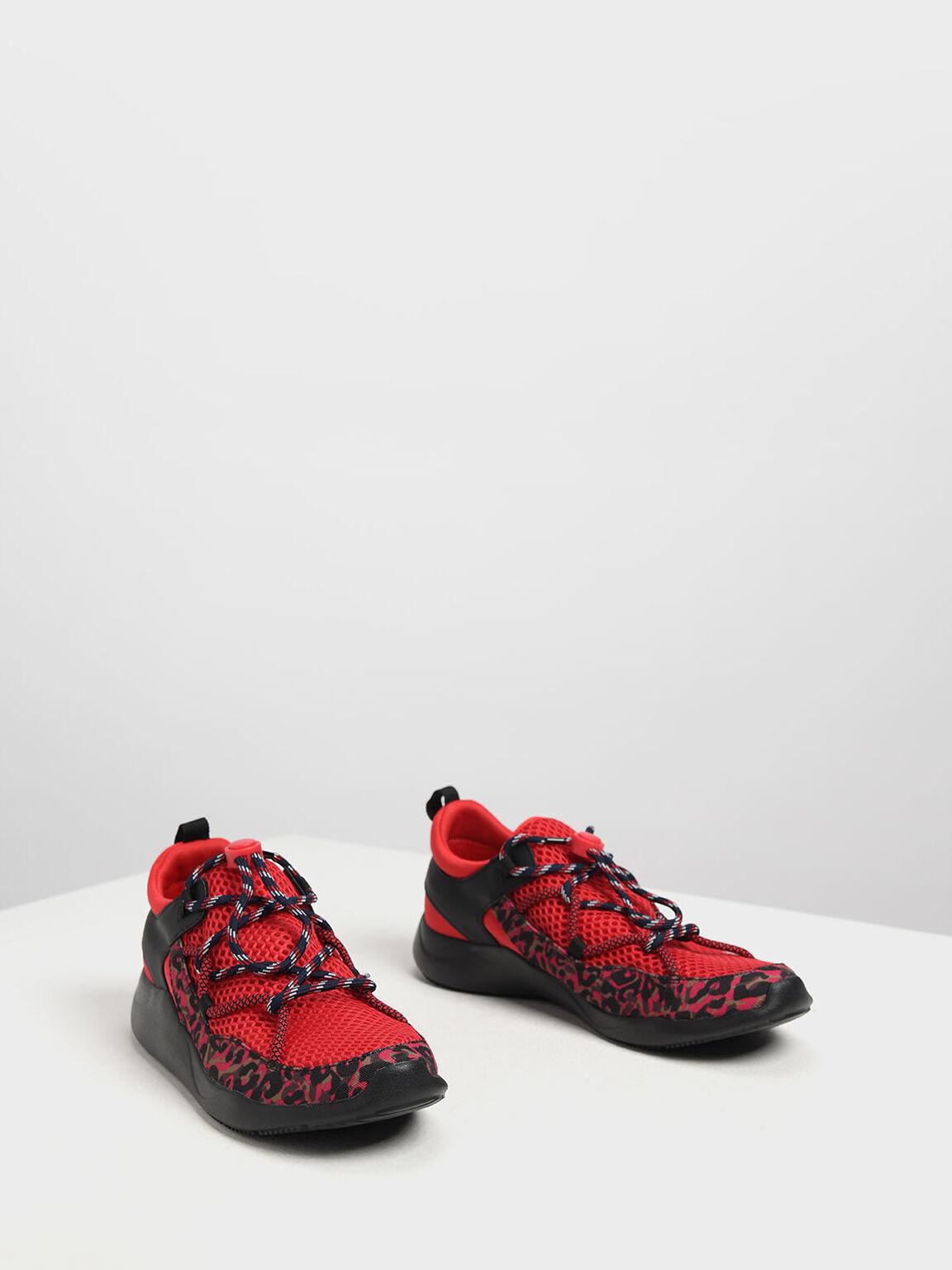 Drawstring Mesh Sneakers, Red, hi-res