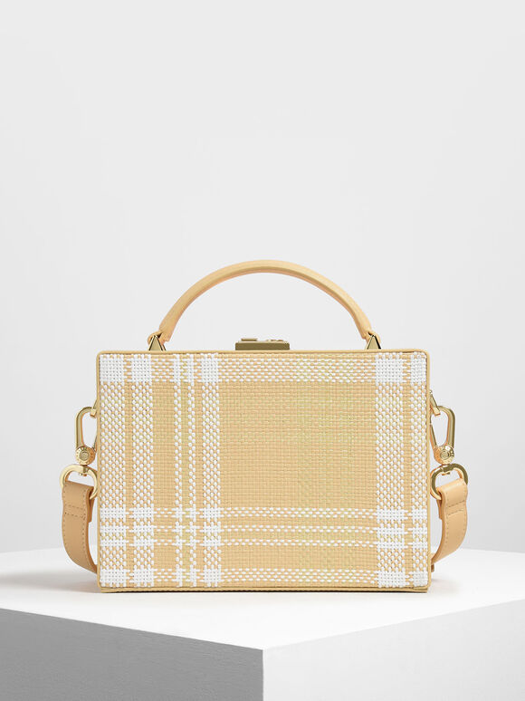 Woven Raffia Boxy Bag, Yellow, hi-res