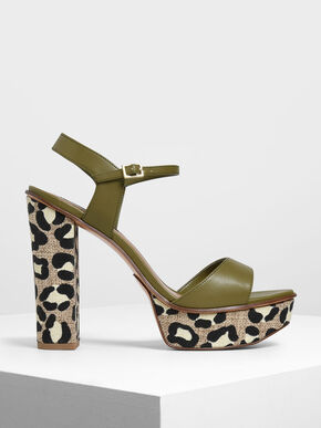 Block Heel Animal Print Platform Shoes, Olive