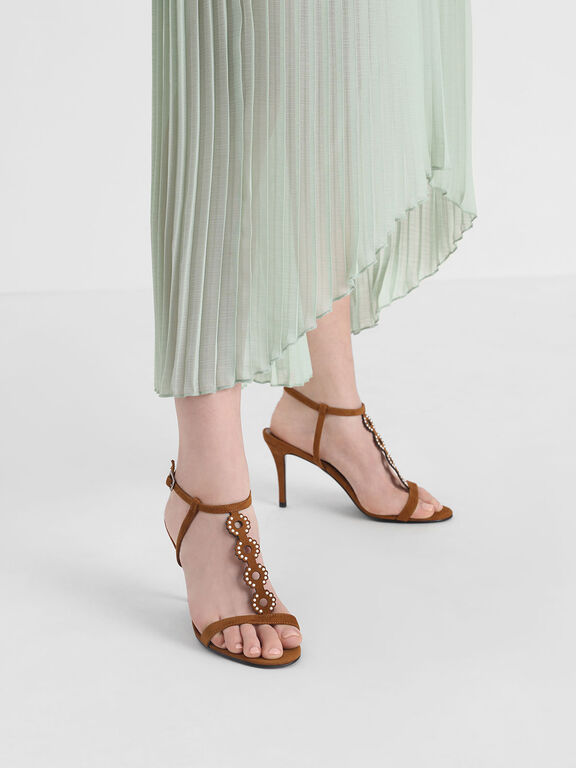 Cut-Out Embellished Stiletto Heels, Camel
