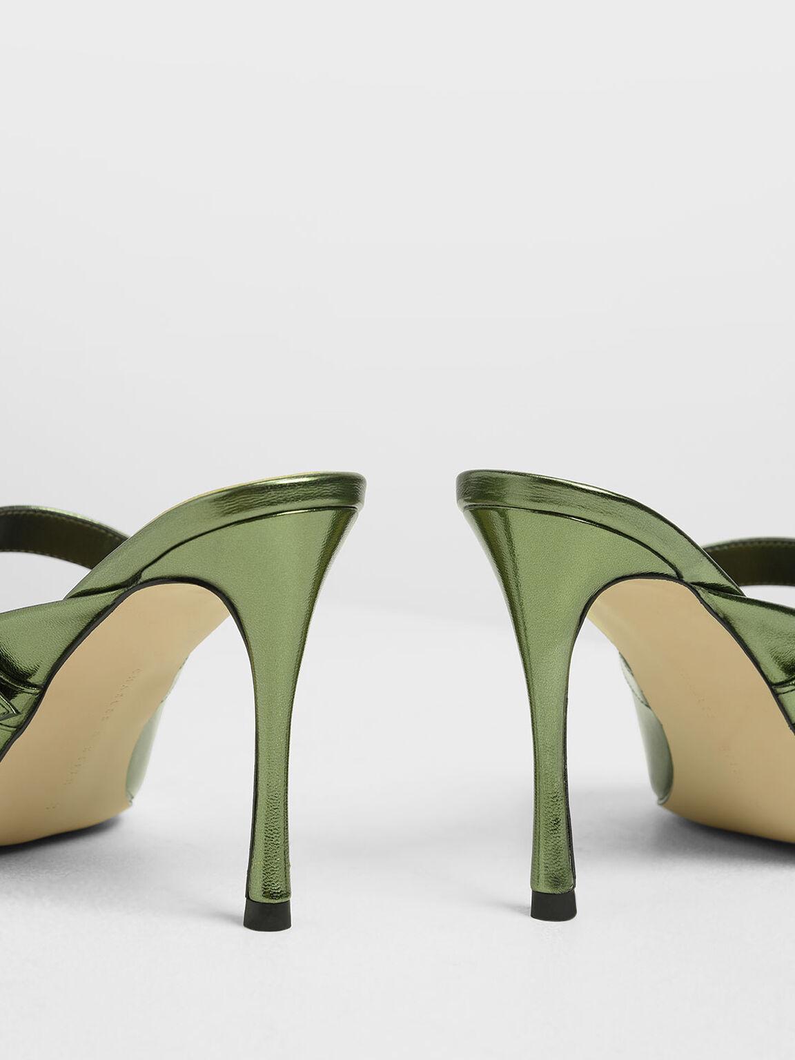 Embellished Buckle Metallic Heels, Green, hi-res