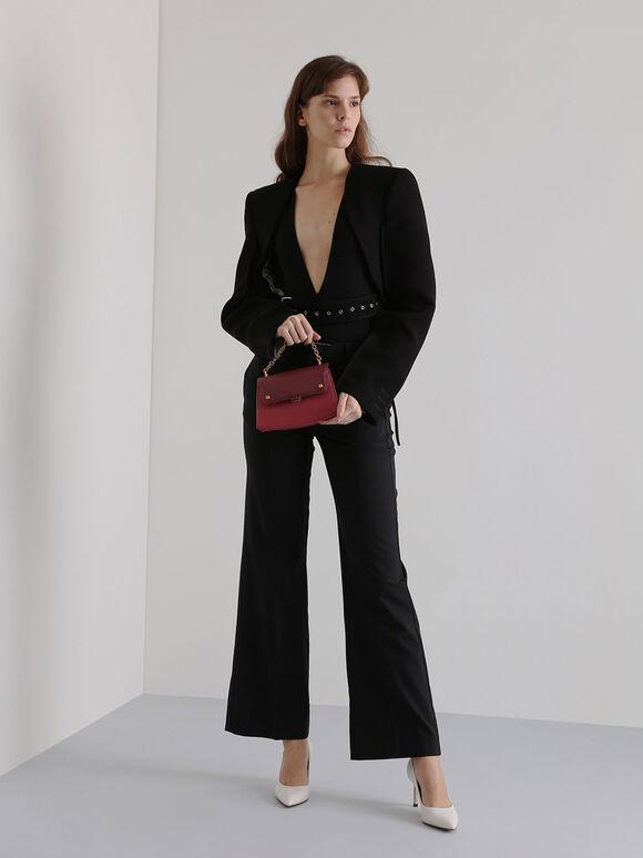 Two-Tone Chain Handle Crossbody Bag, Rose, hi-res