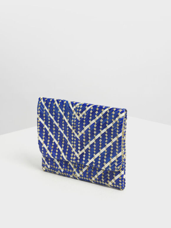 The Purpose Collection - Handwoven Banig Front Flap Clutch, Dark Blue, hi-res