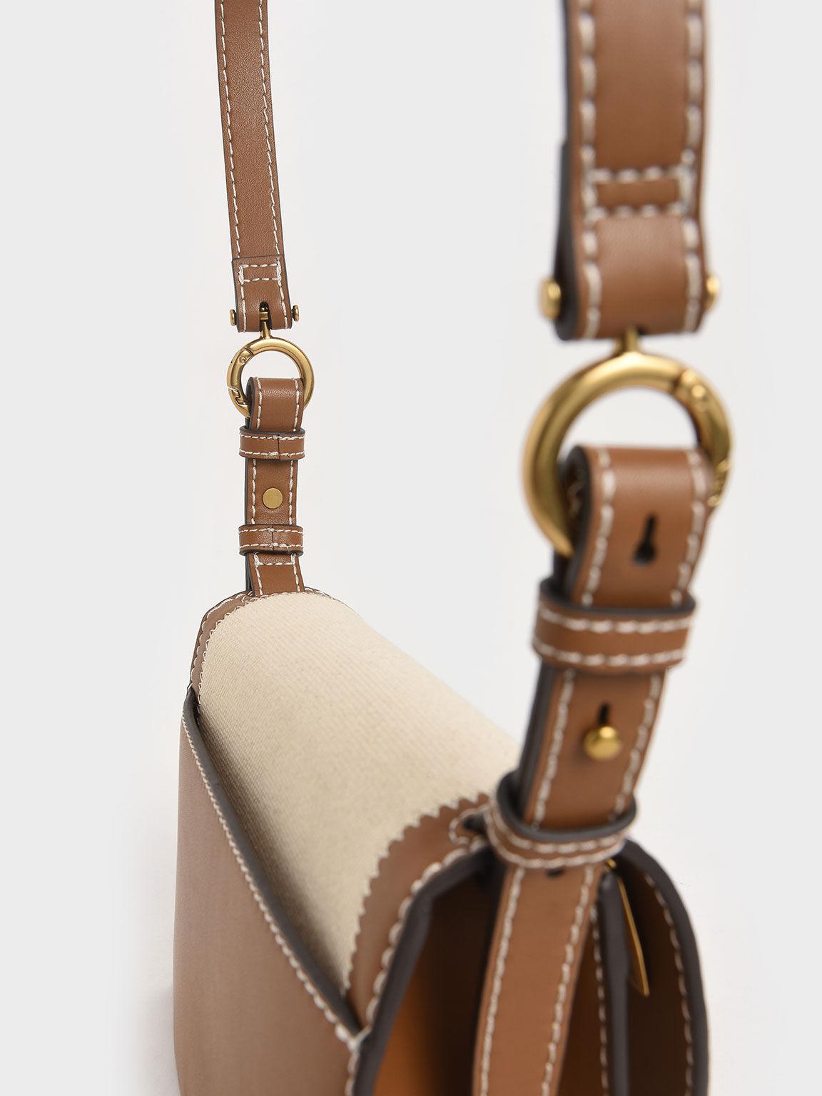 Canvas Turn-Lock Chain Handle Bag, Ivory, hi-res