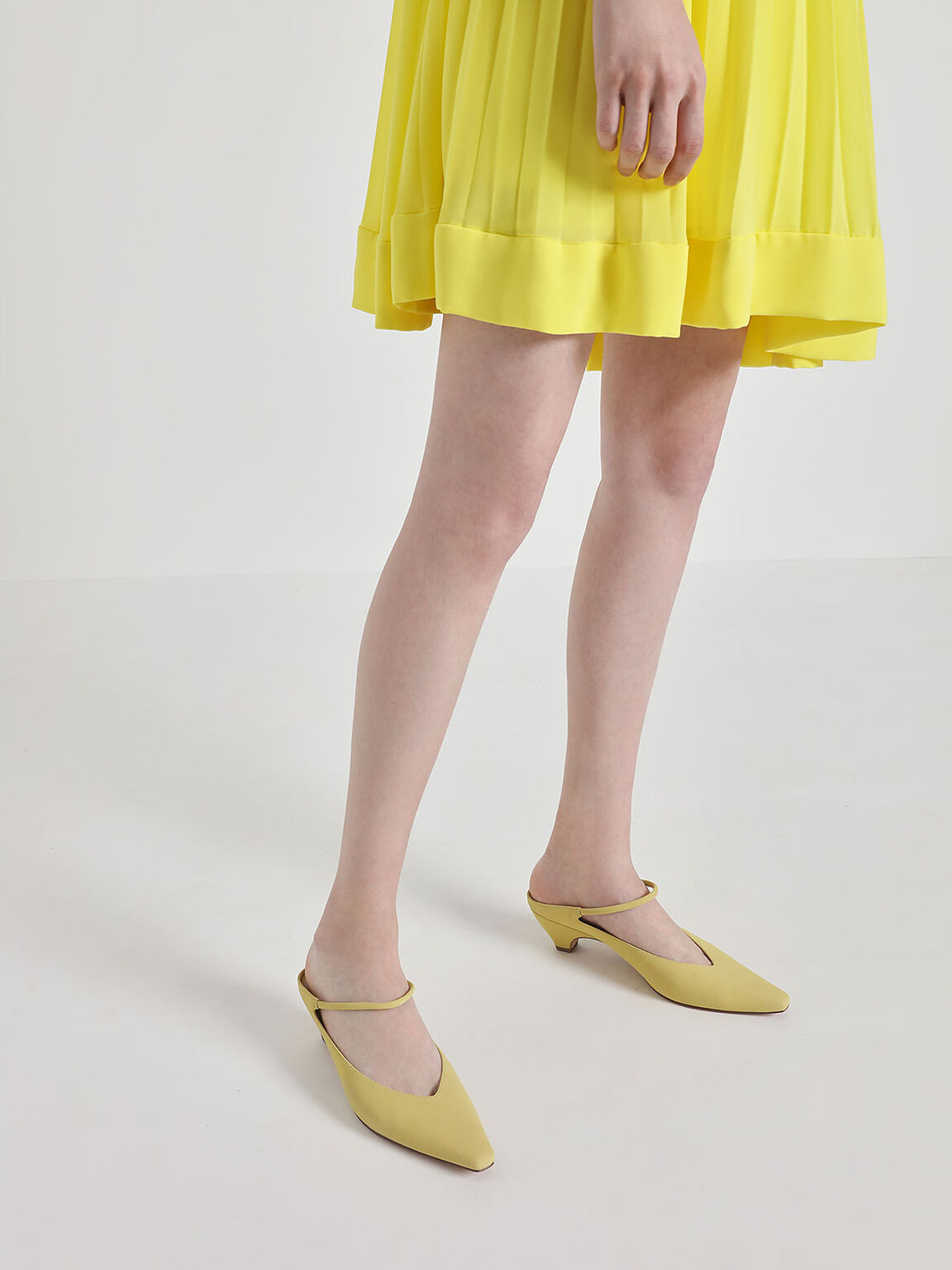 V-Cut Ankle Strap Kitten Heel Mules, Yellow, hi-res