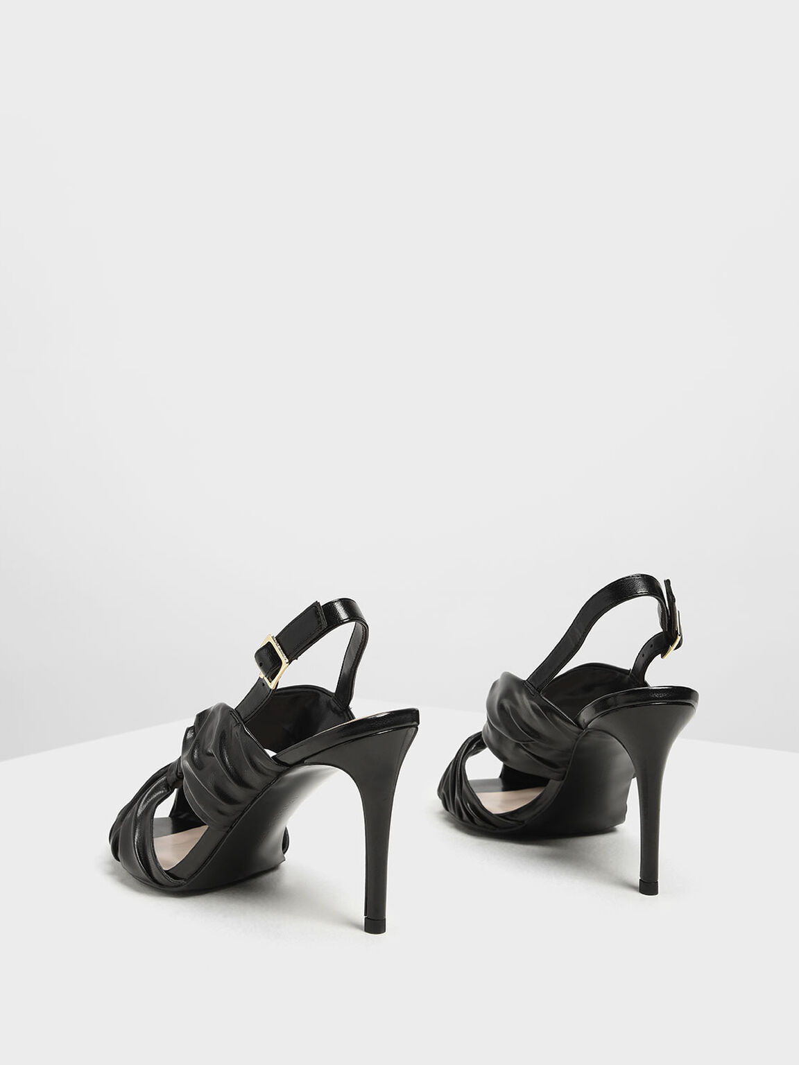 Open Toe Ruched Slingback Heels, Black, hi-res