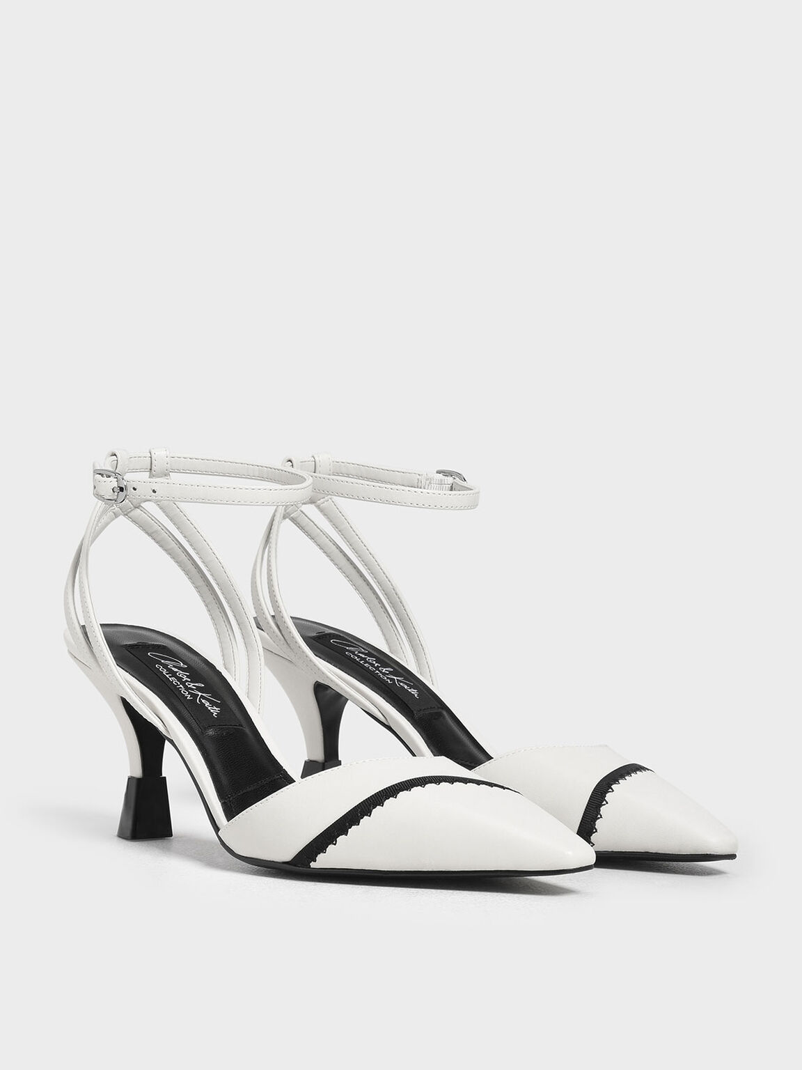 Leather Ankle Strap Pumps, White, hi-res