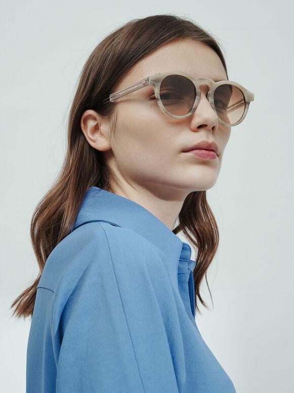 圓型粗框墨鏡, 奶油色, hi-res