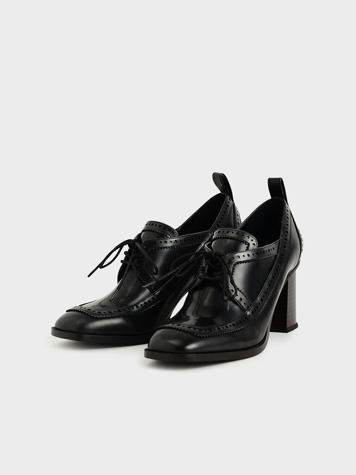 雕花牛津粗跟鞋, 黑色, hi-res