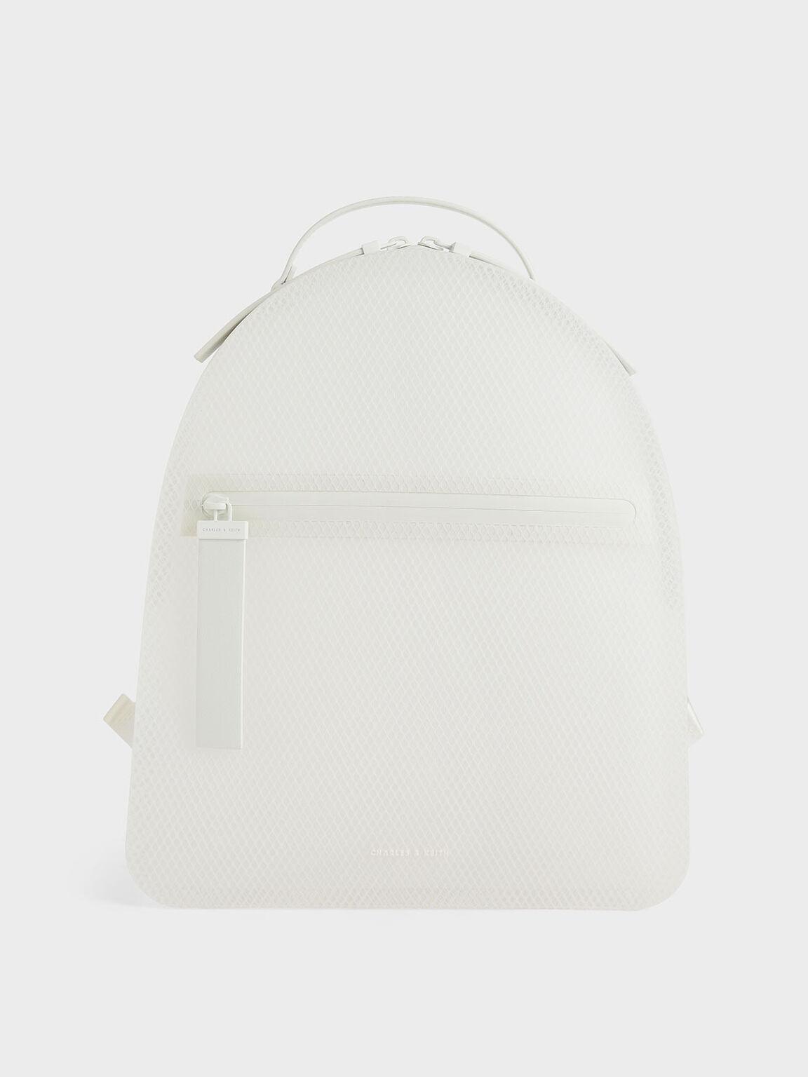 果凍拉鍊後背包, 白色, hi-res