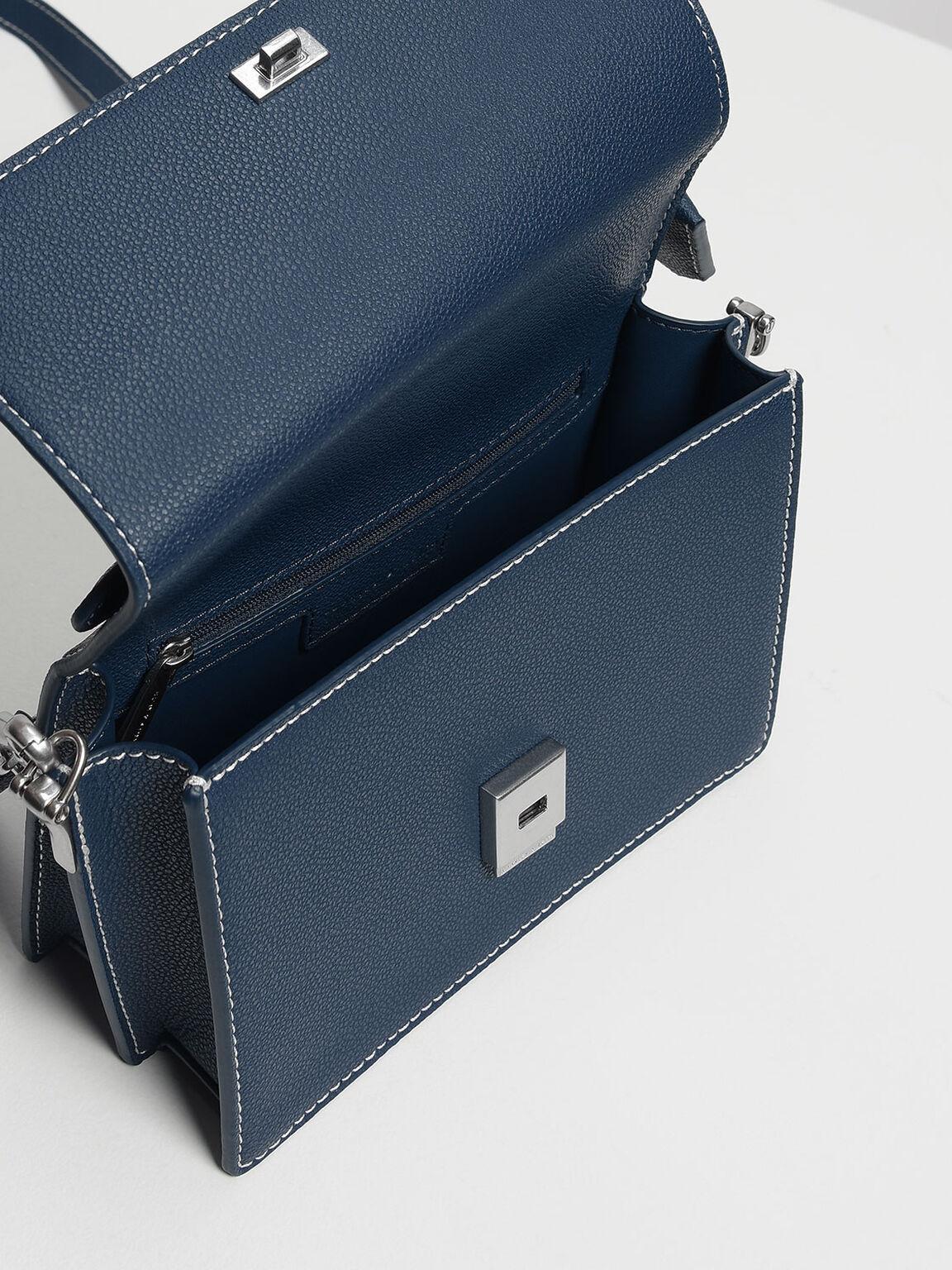 經典吊牌手提包, 藍色, hi-res