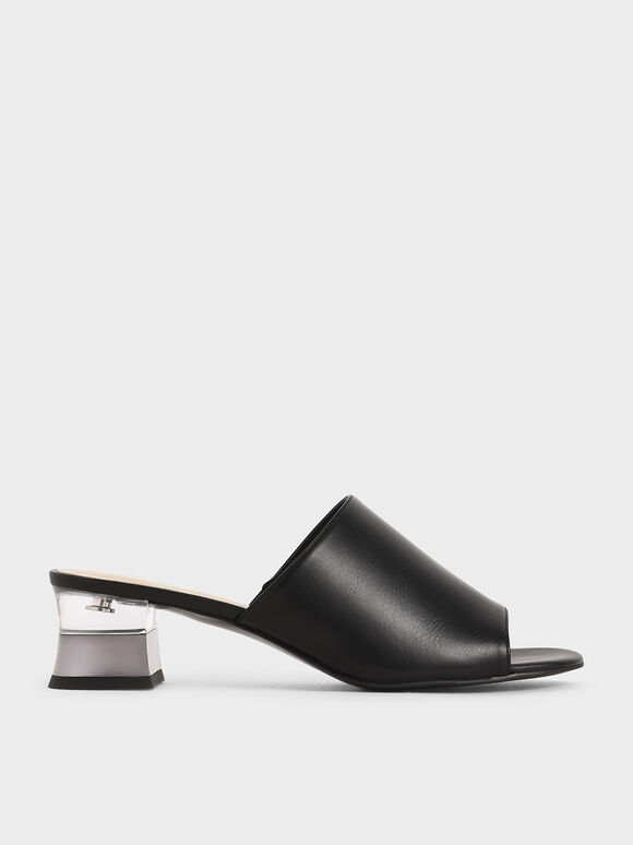 Metallic Effect Block Heel Mules, Black, hi-res