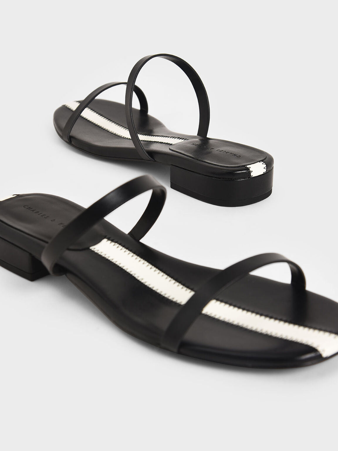 Striped Double Strap Slide Sandals, Black, hi-res