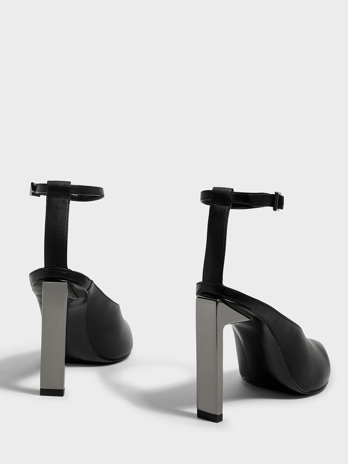 Ankle Strap Pointed Heels, Black, hi-res