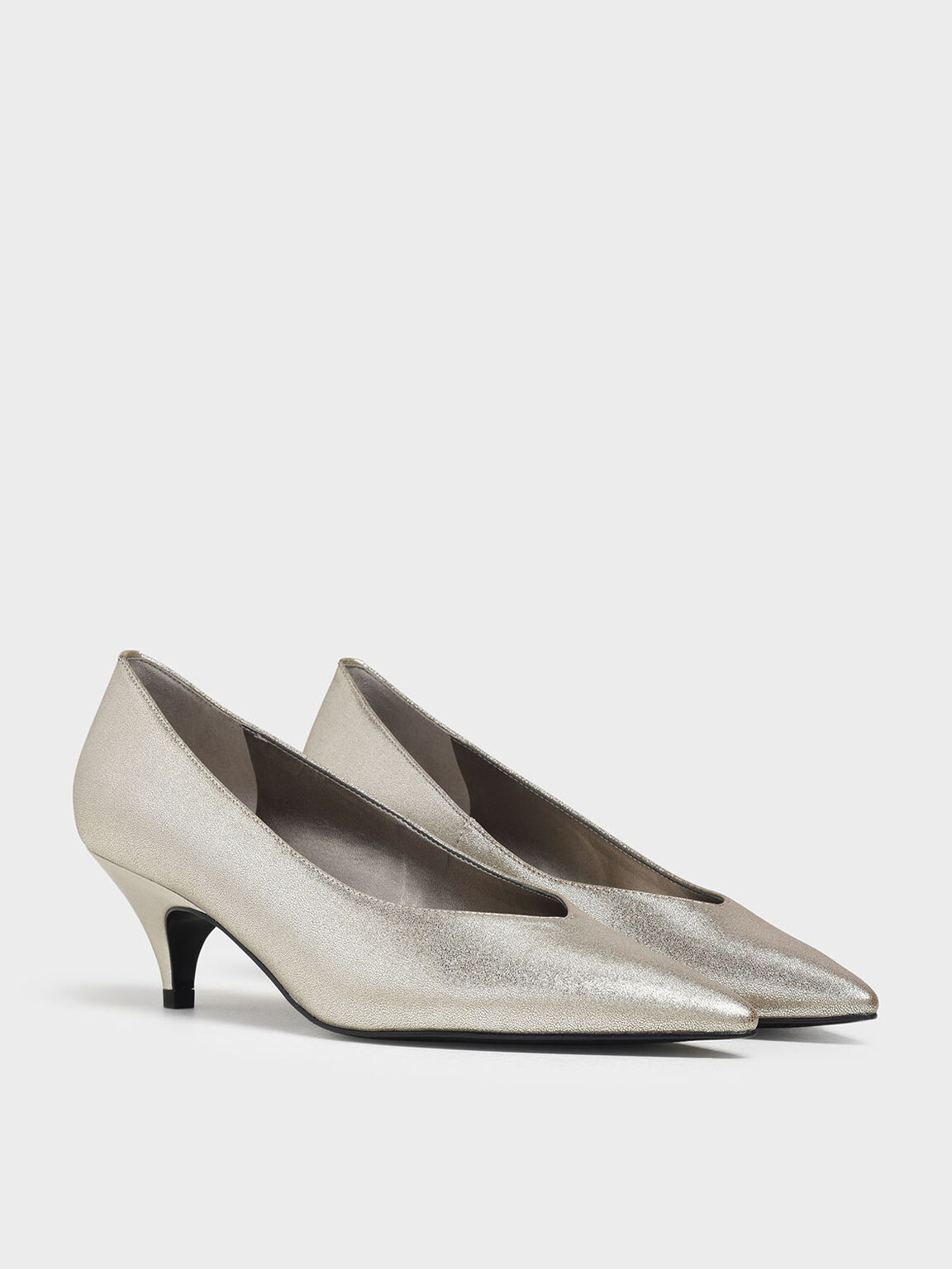 Pointed Toe Kitten Heel Metallic Pumps, Silver, hi-res