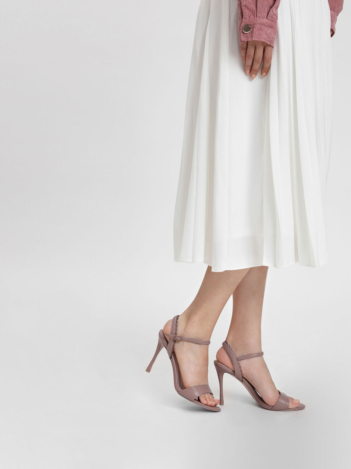 Scallop Edge Detail Heeled Sandals, Nude, hi-res