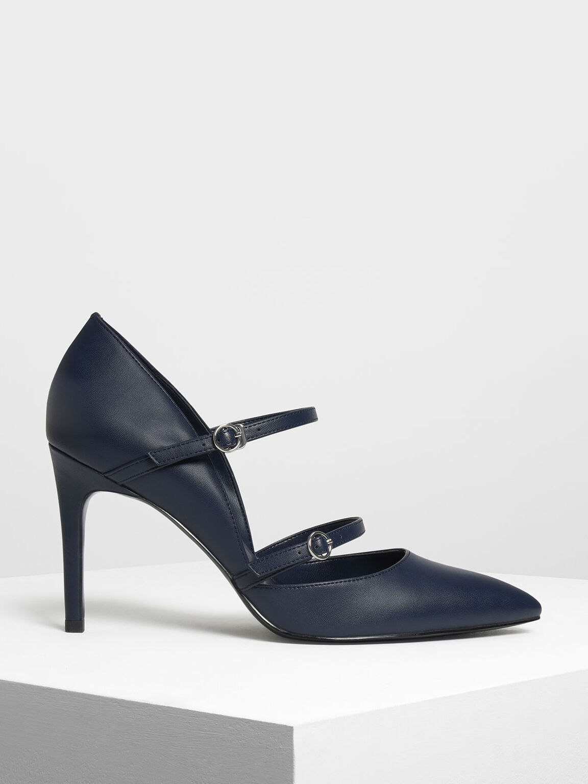 Double Strap Mary Jane Heels, Dark Blue, hi-res