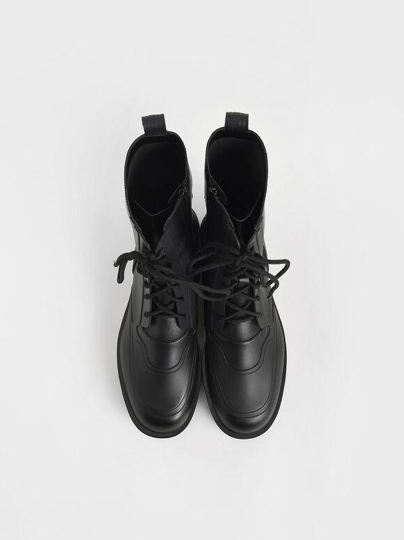 綁帶厚底短靴, 黑色, hi-res