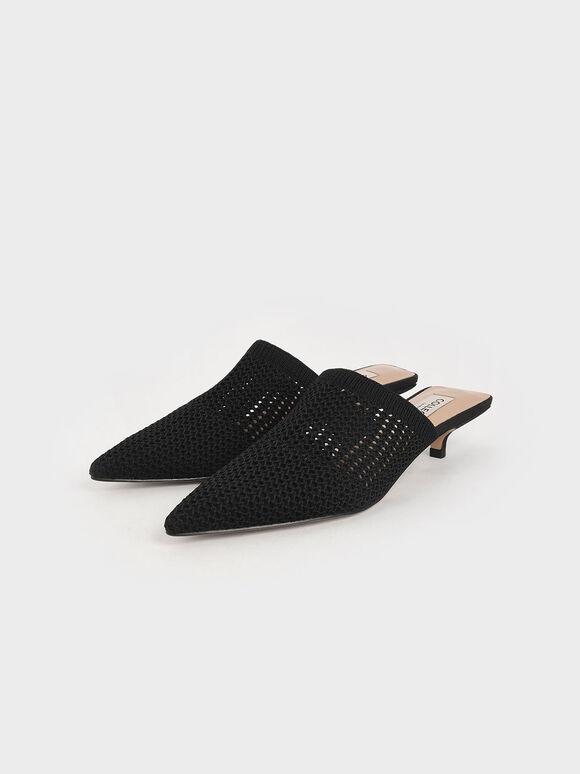Knitted Kitten Heel Mules, Black, hi-res