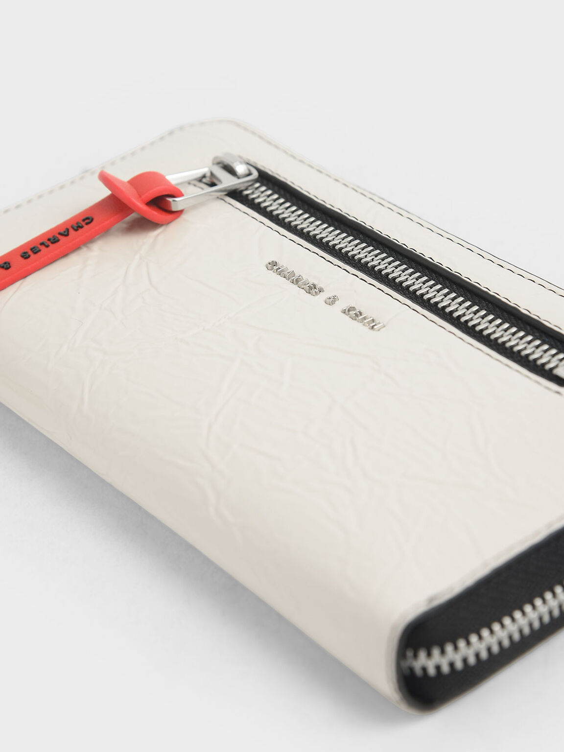 Mini Wrinkled Effect Long Wallet, Cream, hi-res