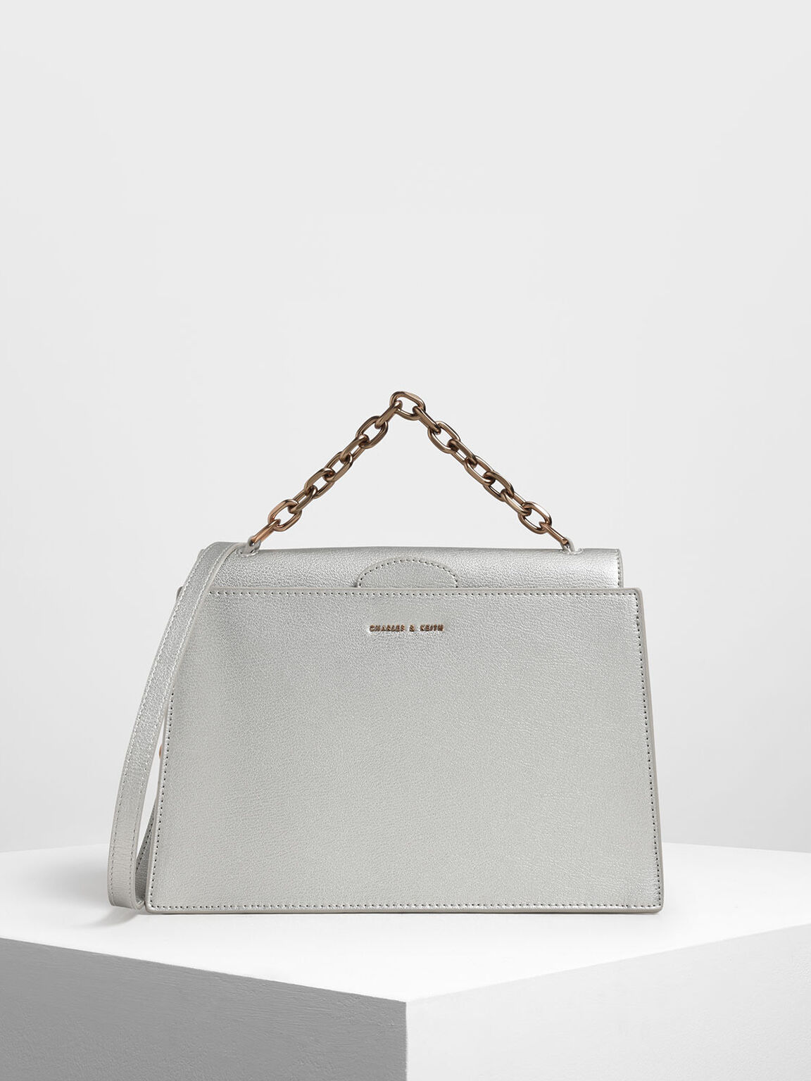 Tuck-In Flap Bag, Silver, hi-res