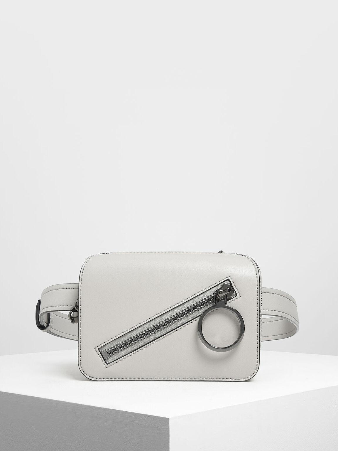 Ring Zip Pocket Two-Way Belt Bag, Grey, hi-res