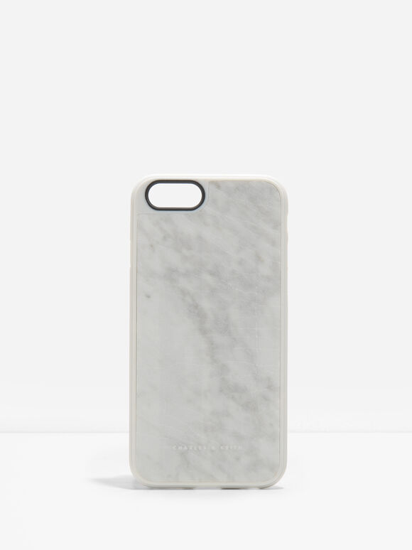 Marble iPhone Case, White, hi-res