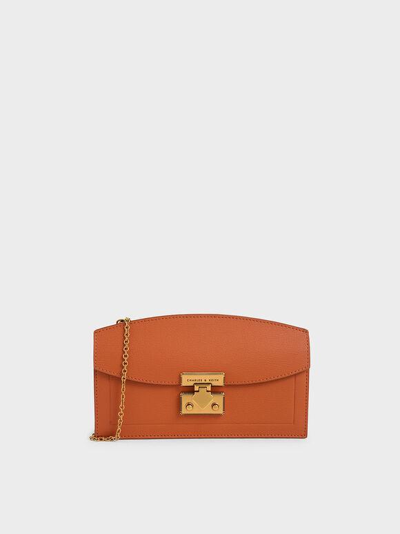 Metallic Accent Long Wallet, Orange, hi-res