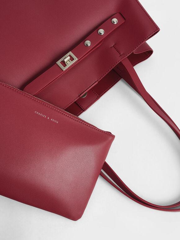 Grommet Strap Tote Bag, Berry, hi-res