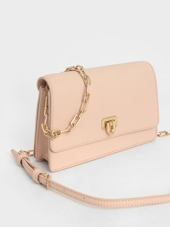 Double Chain Link Push-Lock Bag, Nude, hi-res