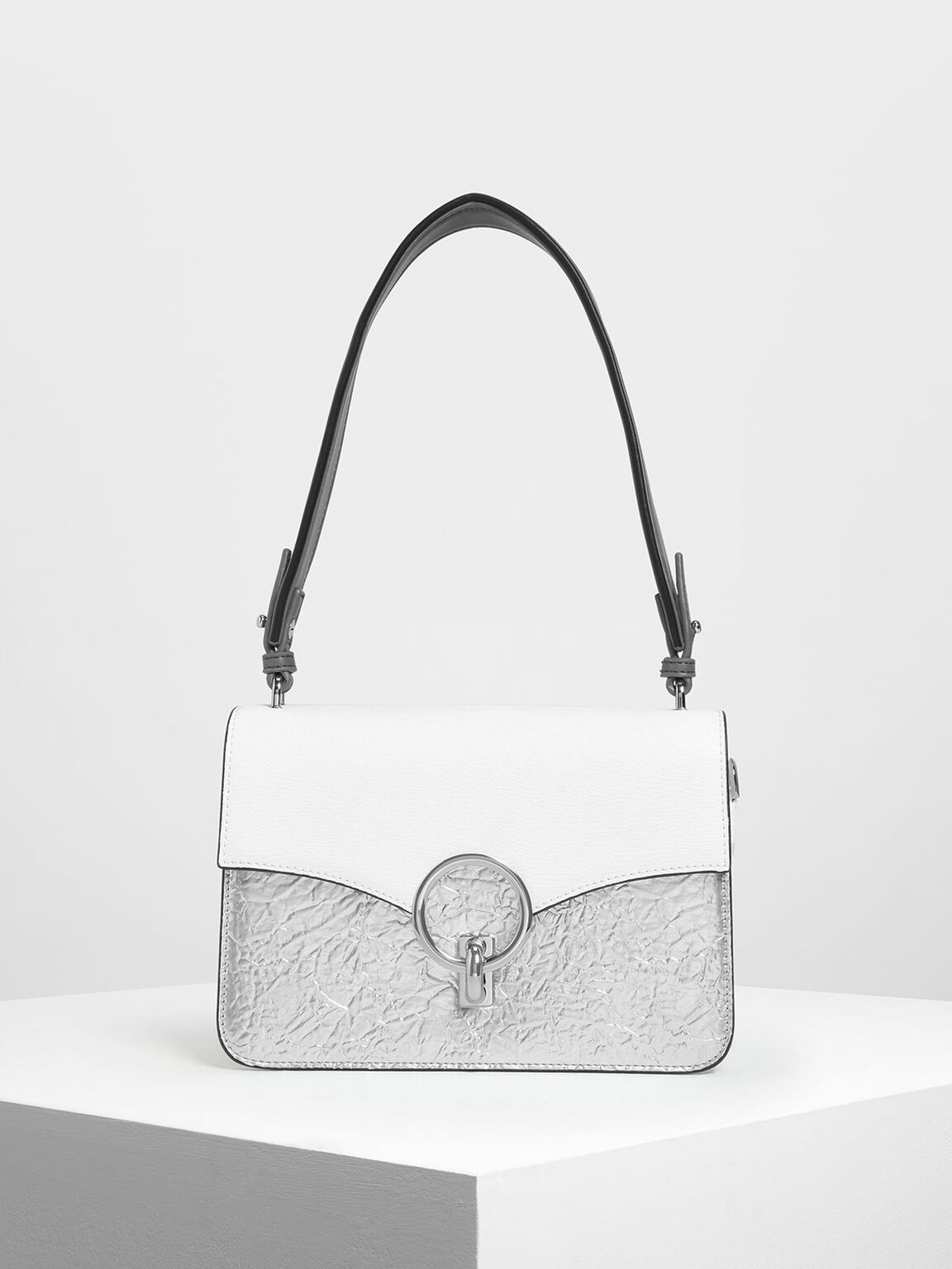 Chain Link Shoulder Bag, Silver, hi-res