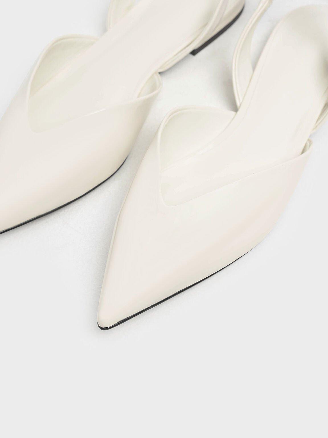 V-컷 에나멜 슬링백 플랫, Cream, hi-res