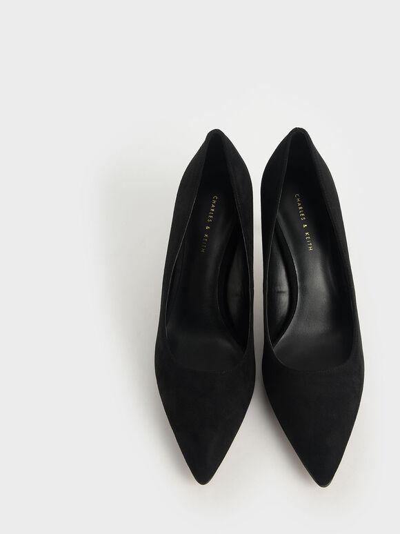 Textured Pointed Toe Pumps, Black Textured, hi-res